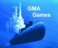 Painting of submarine being depth charged with GMA Games written above.